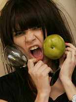 Fruits. 18yo emo teen get's naughty on kitchen & shows off her body.